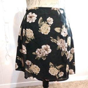 MIne Black Floral True Wrap Skirt